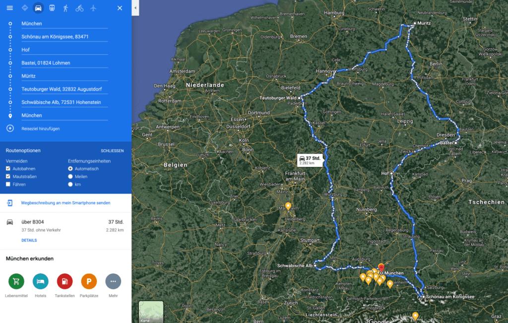 Grobe Reiseplanung durch Deutschland im Juni